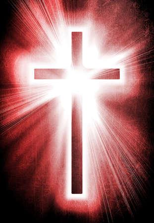cruz roja: cruz roja sobre un fondo oscuro del grunge