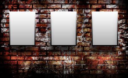 iluminado: Tres en blanco en una pared de ladrillo