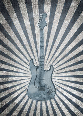 vintage musical background with guitar photo