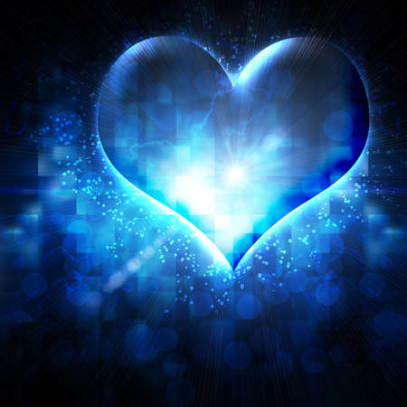 abstract heart on a blue background photo