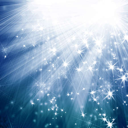 film star: blue background with rays and stars