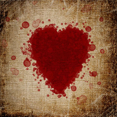 heart made of blood drops of canvas photo