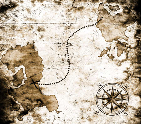 windrose: Old treasure map Stock Photo
