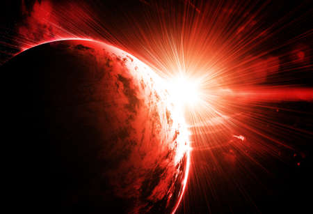 planet futuristic: red planet with a flash of sun, abstract background Stock Photo