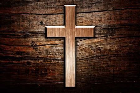 Cruz en el fondo de madera