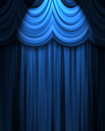 famous writer: blue theatre curtain with spotlight Stock Photo