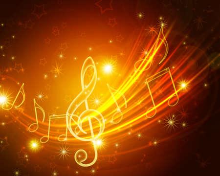 que brillan intensamente símbolos musicales con estrellas