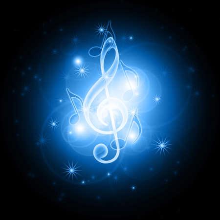 chiave di violino: incandescente simboli musicali Archivio Fotografico