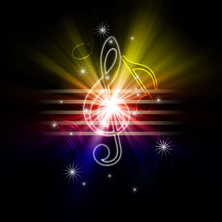 glowing musical symbols photo