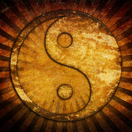 Grunge yin yang symbol background photo