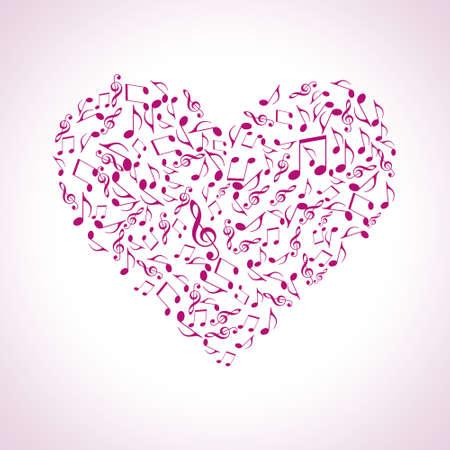 chiave di violino: cuore fatto di simboli musicali