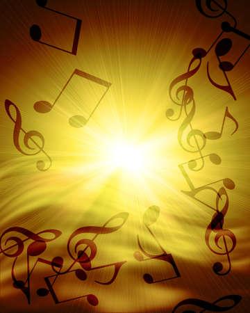 notas musicales: notas musicales en contra de puesta de sol Foto de archivo