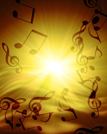 musical notes against sunset