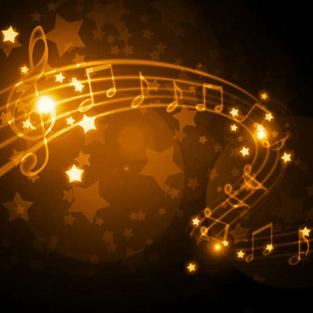 musical staff with notes and stars Standard-Bild