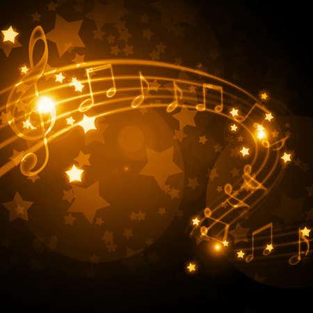 instrumentos musicales: pentagrama con las notas y las estrellas Foto de archivo