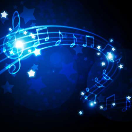 pentagrama musical: pentagrama con las notas y las estrellas Foto de archivo