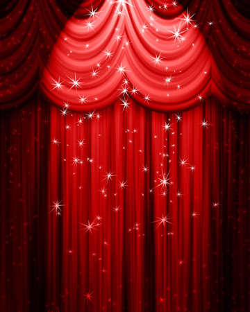 red theatre curtain with spotlight and stars photo