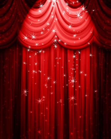 cortinas rojas: rojo teatro cortina con reflectores y las estrellas Foto de archivo