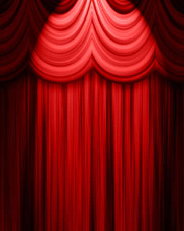 theatre curtain: red theatre curtain with spotlight
