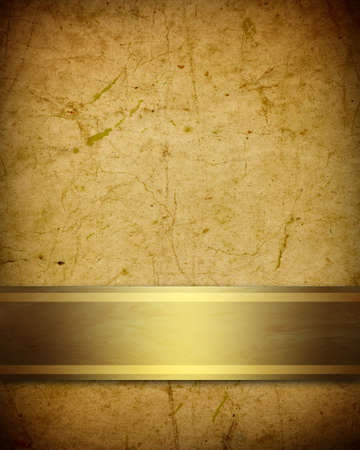 title: soft golden brown parchment background with ribbon Stock Photo