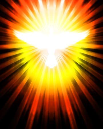 pfingsten: Taube mit leuchtenden Strahlen