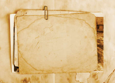 Vintage background with old paper, letters and photos photo