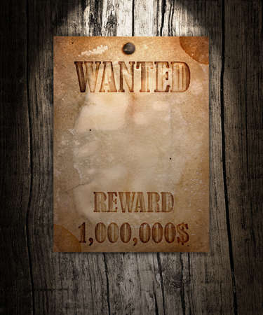 desperado: Vintage wanted poster on a wooden wall