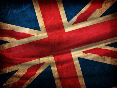 union jack: England flag on grunge wall Stock Photo