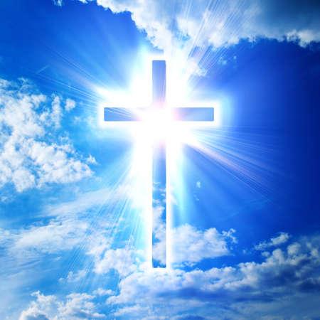 blue cross on heaven background Archivio Fotografico