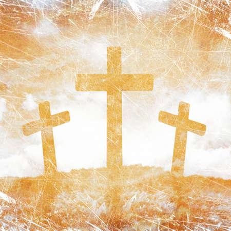 グランジ背景に 3 つの十字架のシルエット