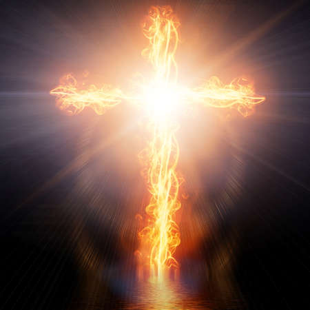 cross burning in fire Stock Photo