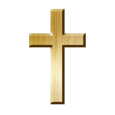 Golden cross, isolated on a white background with clipping path