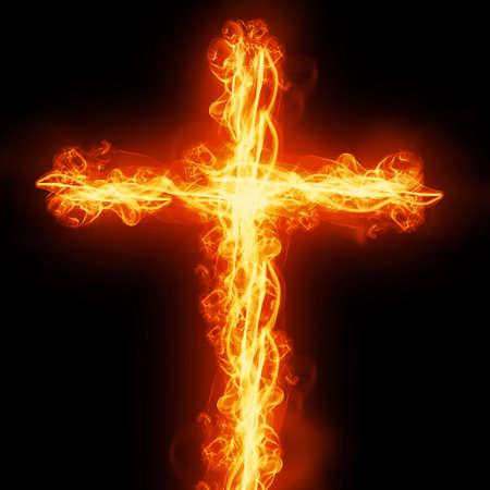 cross burning in fire Stock Photo