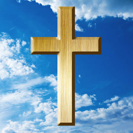 gold cross on heaven background
