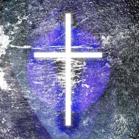 religious theme with glowing grunge cross in heaven