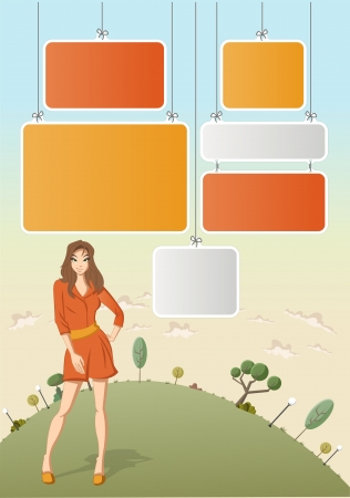 Cute cartoon girl wearing red dress on green park with boards for template   design   Vector