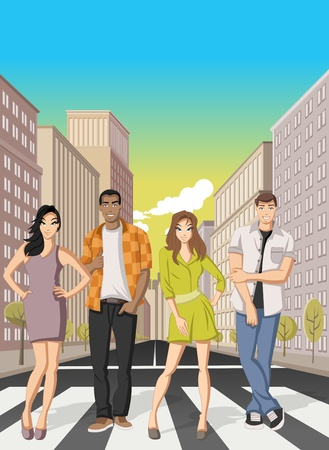 residential neighborhood: Cartoon people on downtown street in the city with tall buildings