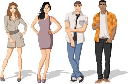 cartoon mensen: Groep van de mode cartoon jongeren. Tieners.