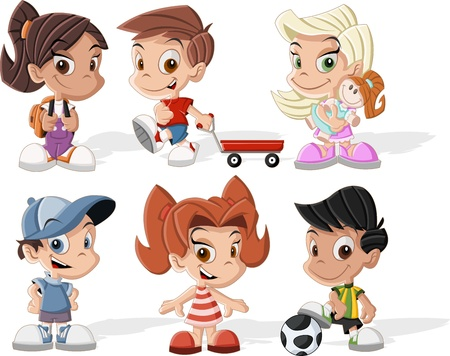 kids football: Group of six cute happy cartoon kids