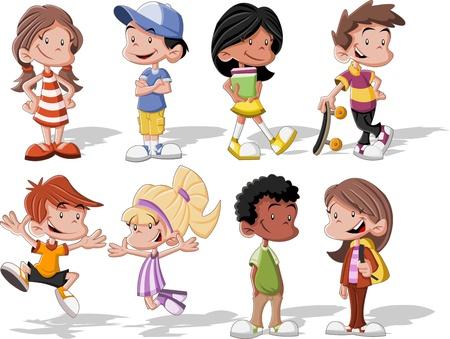 niño y niña: Grupo de niños lindos felices de la historieta Vectores