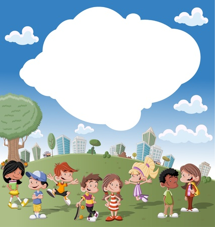 Colorful template for advertising brochure with a group of cute happy cartoon kids playing in green park on the city   Illustration