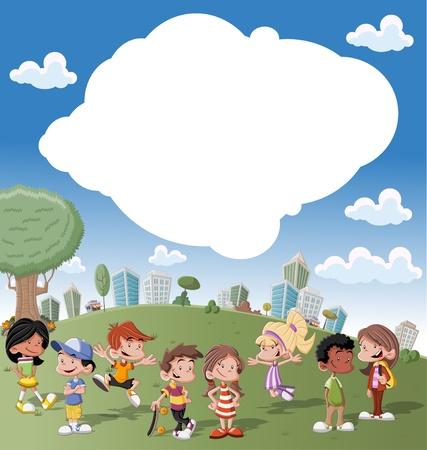 amigo: Plantilla colorida para el folleto publicitario con un grupo de chicos lindos dibujos animados felices jugando en el parque verde de la ciudad Vectores