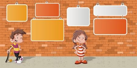 Couple of cartoon children in front of orange brick wall background  Stock Vector - 16260789