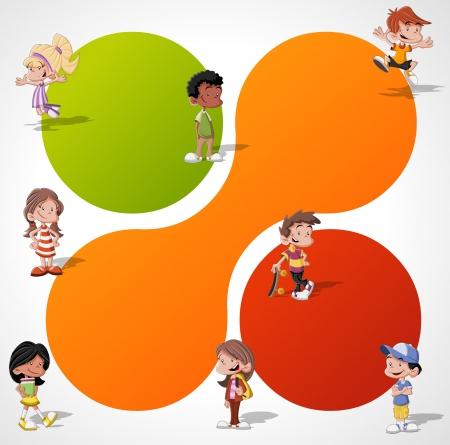 Kleurrijke sjabloon voor reclamefolder met een groep van leuke happy cartoon kinderen spelen
