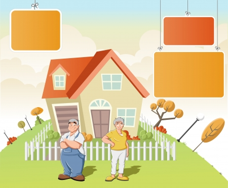 happy couple house: Colorful template for advertising brochure with cartoon old people in front of a house in green park.