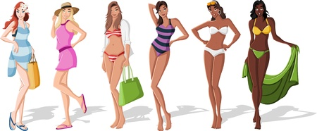 girls in bikini: Beautiful cartoon girls wearing bikini  Illustration