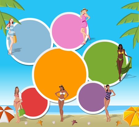 Colorful template for advertising brochure with beautiful cartoon girls on tropical beach  Stock Vector - 16260771