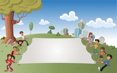 Cartoon children in green park with a big white board   Vector