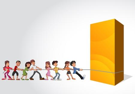 tug: Gruppo di bambini che tira una grande scatola gialla Vettoriali