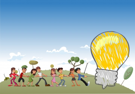 tug: Group of children pulling a big idea light bulb Illustration